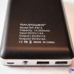 Spécification technique de la batterie de secours RAVPower® RP-PB13 14000mAh, avec entrée micro-usb 1.5A et sortie usb 1A et 2A