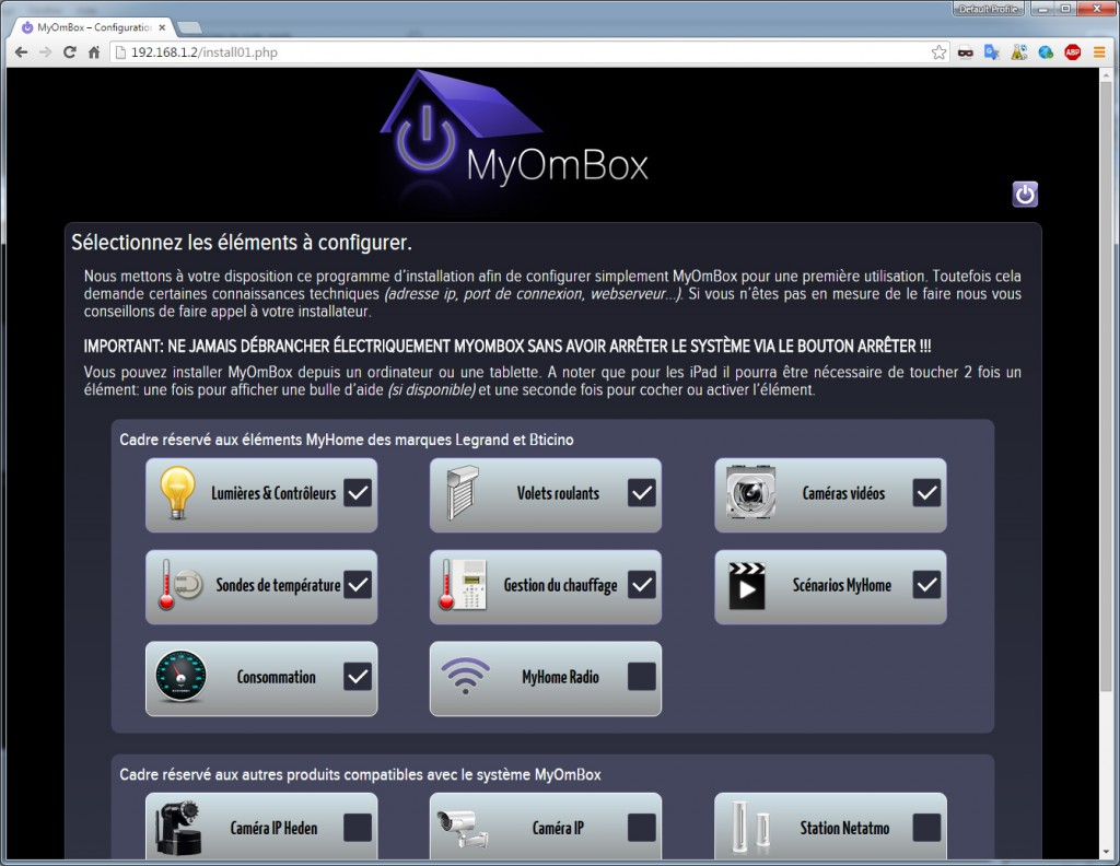 Choice of electrical products connected to configure on MyOmBox