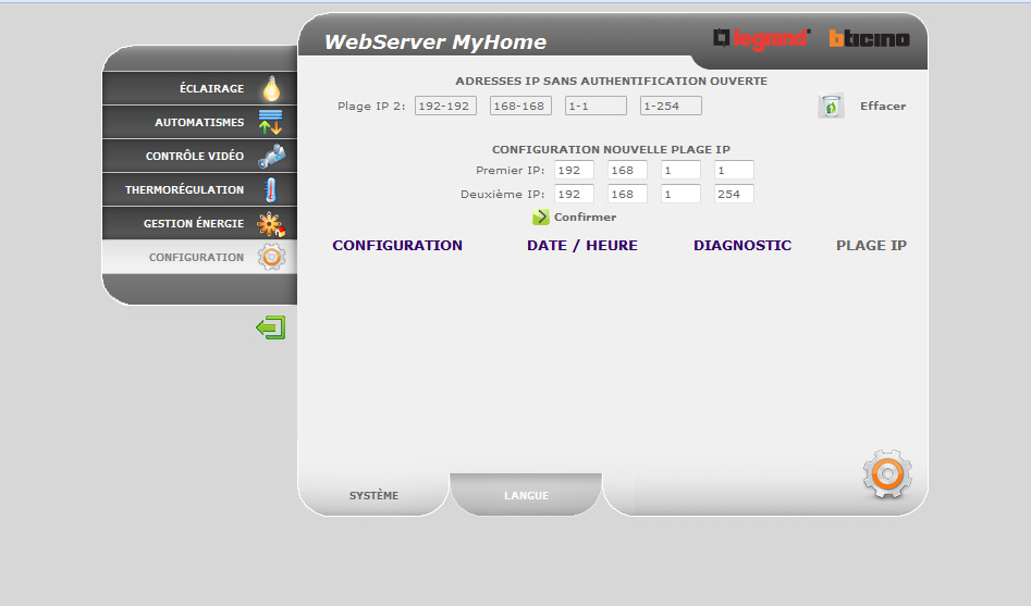 MyHome WebServer interface and configuration of IP server permissions BUS