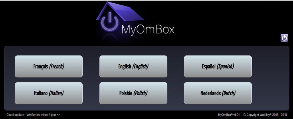 Choix de la langue de l'interface MyOmBox