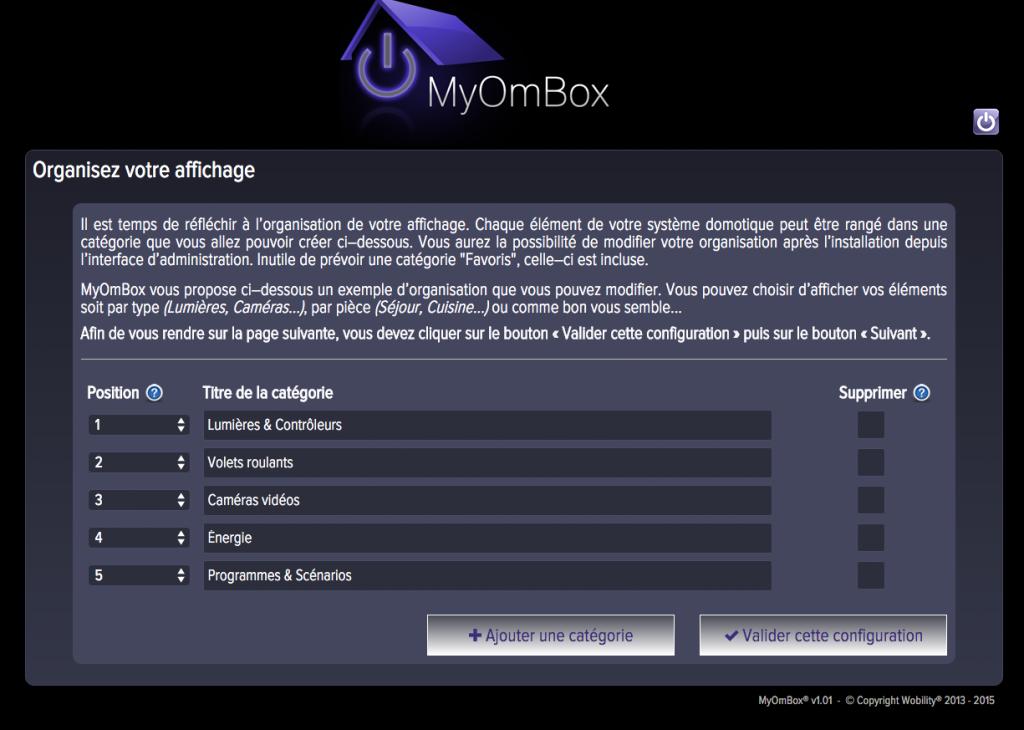 Page de configuration des catégories d'affichage de votre smarthouse
