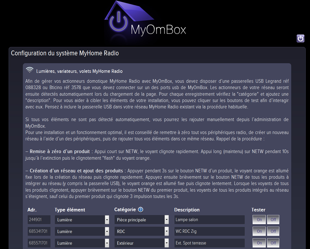 Configuration automatique avec détection myhome play radio