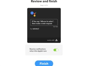 fin de la configuration google assistant ifttt myombox